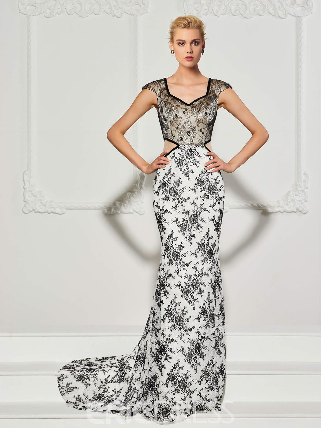 Ericdress Mermaid Cap Sleeve Lace Evening Dress With Sweep Train