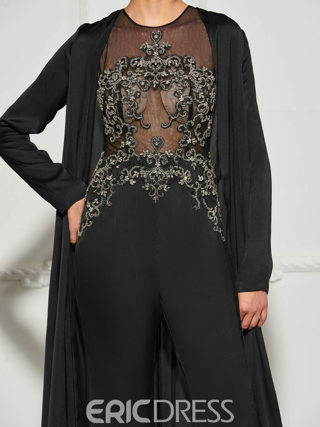 Ericdress A Line Long Sleeve Beaded Prom Jumpsuit