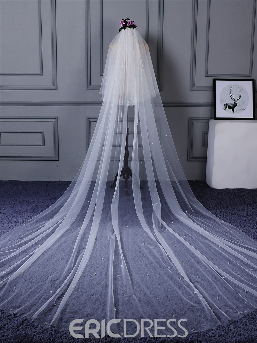 Ericdress Pearls Tulle Long Bridal Veil