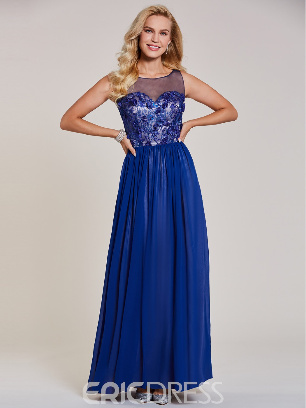 Ericdress Scoop Neck Appliques A Line Long Evening Dress