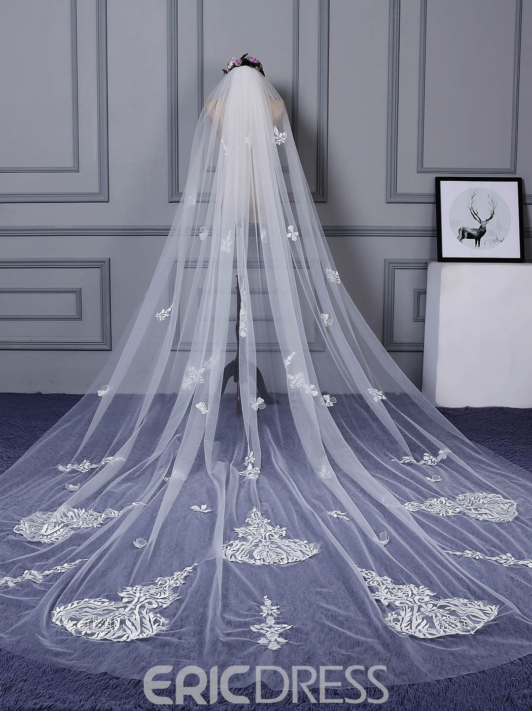 Ericdress Appliques Pattern Long Wedding Veil