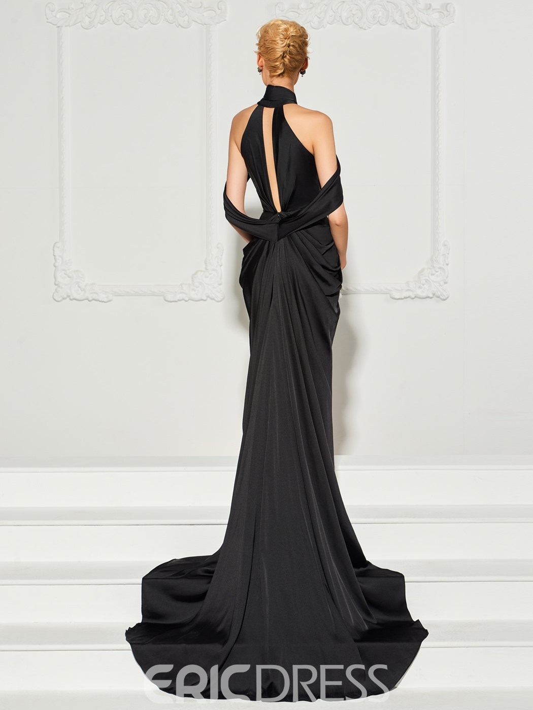 Ericdress Halter Court Train Long Mermaid Evening Dress With Side Slit