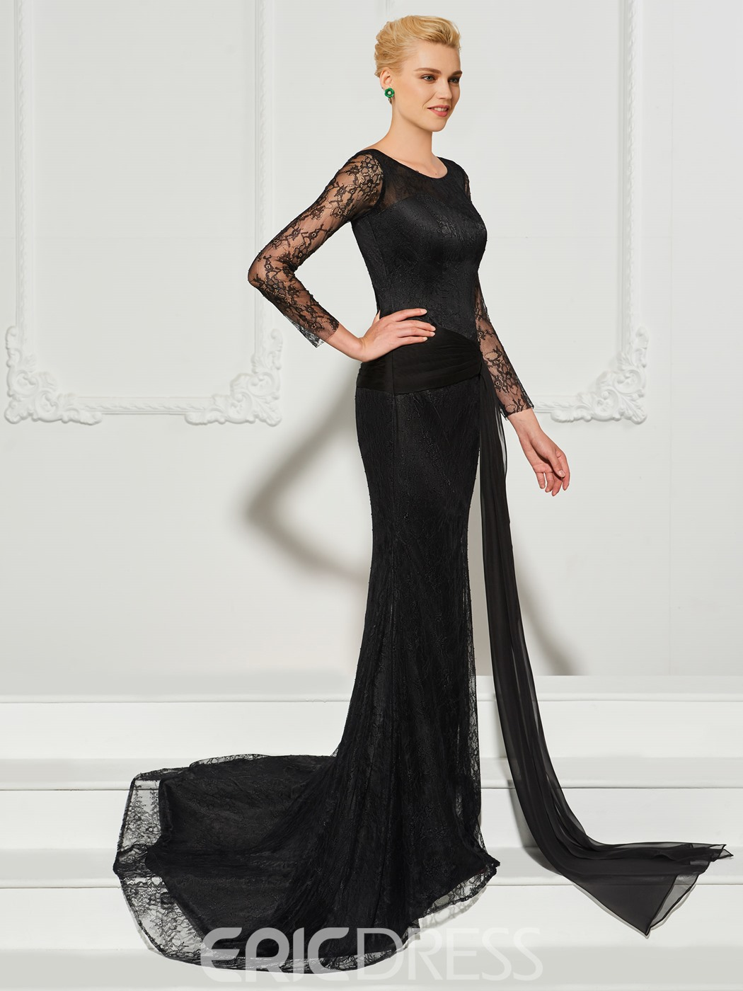 Ericdress Long Sleeve Bateau Neck Lace Mermaid Evening Dress