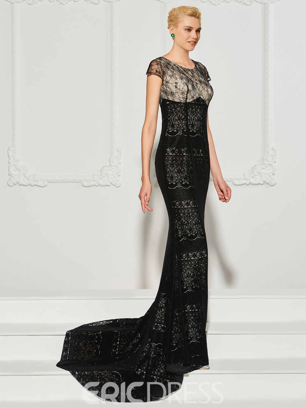 Ericdress Sheath Cap Sleeve Lace Mermaid Evening Dress With Sweep Train