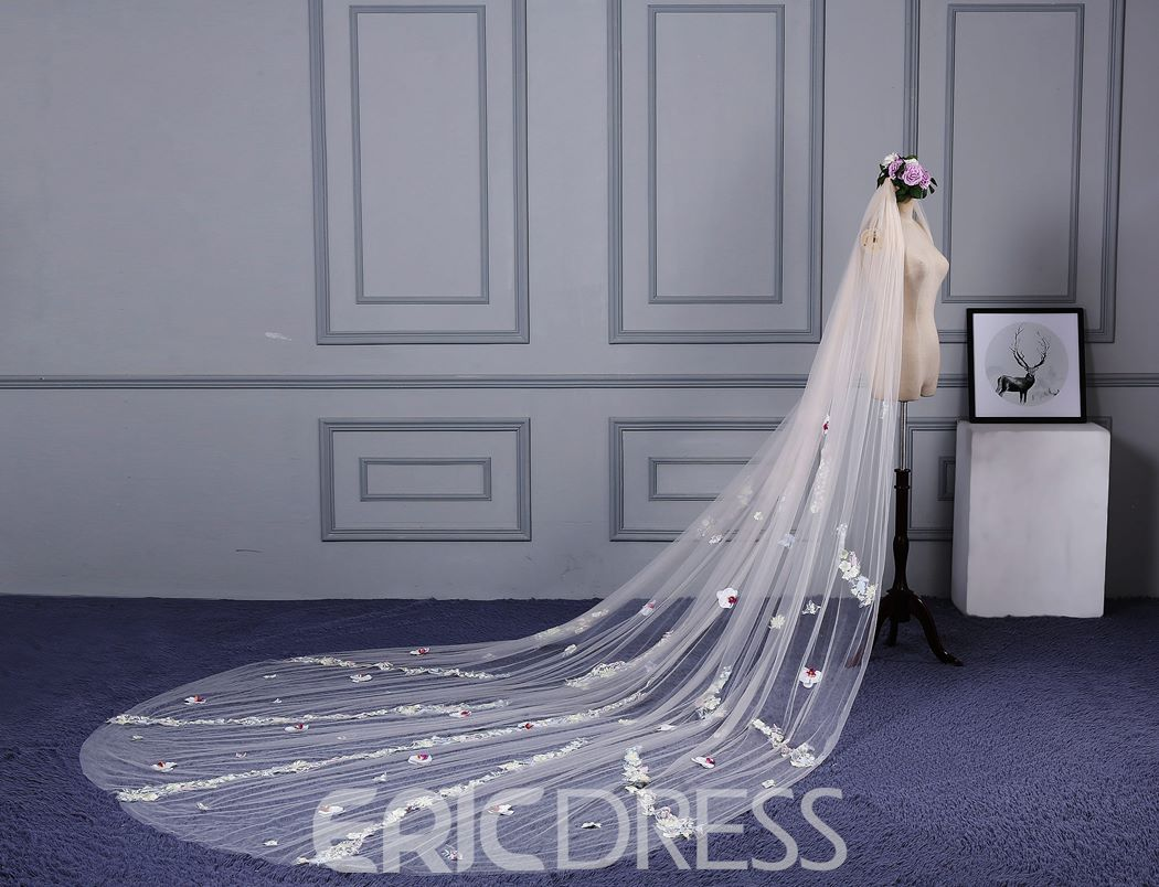 Ericdress High Quality Appliques Long Tulle Wedding Veil