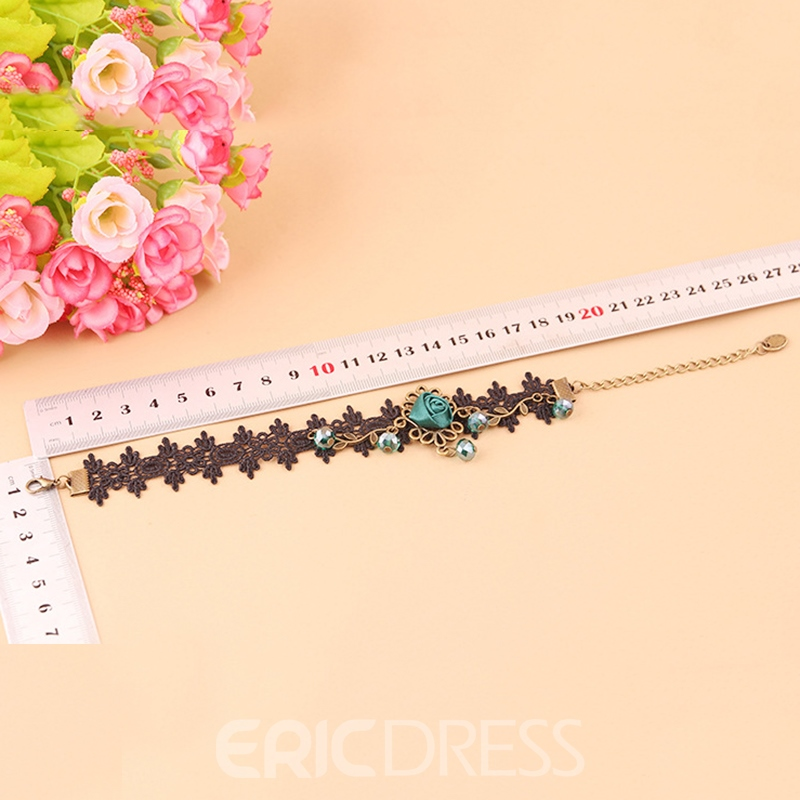 Ericdress Retro Blue Rose Decorated Lace Tassel Women's Anklet