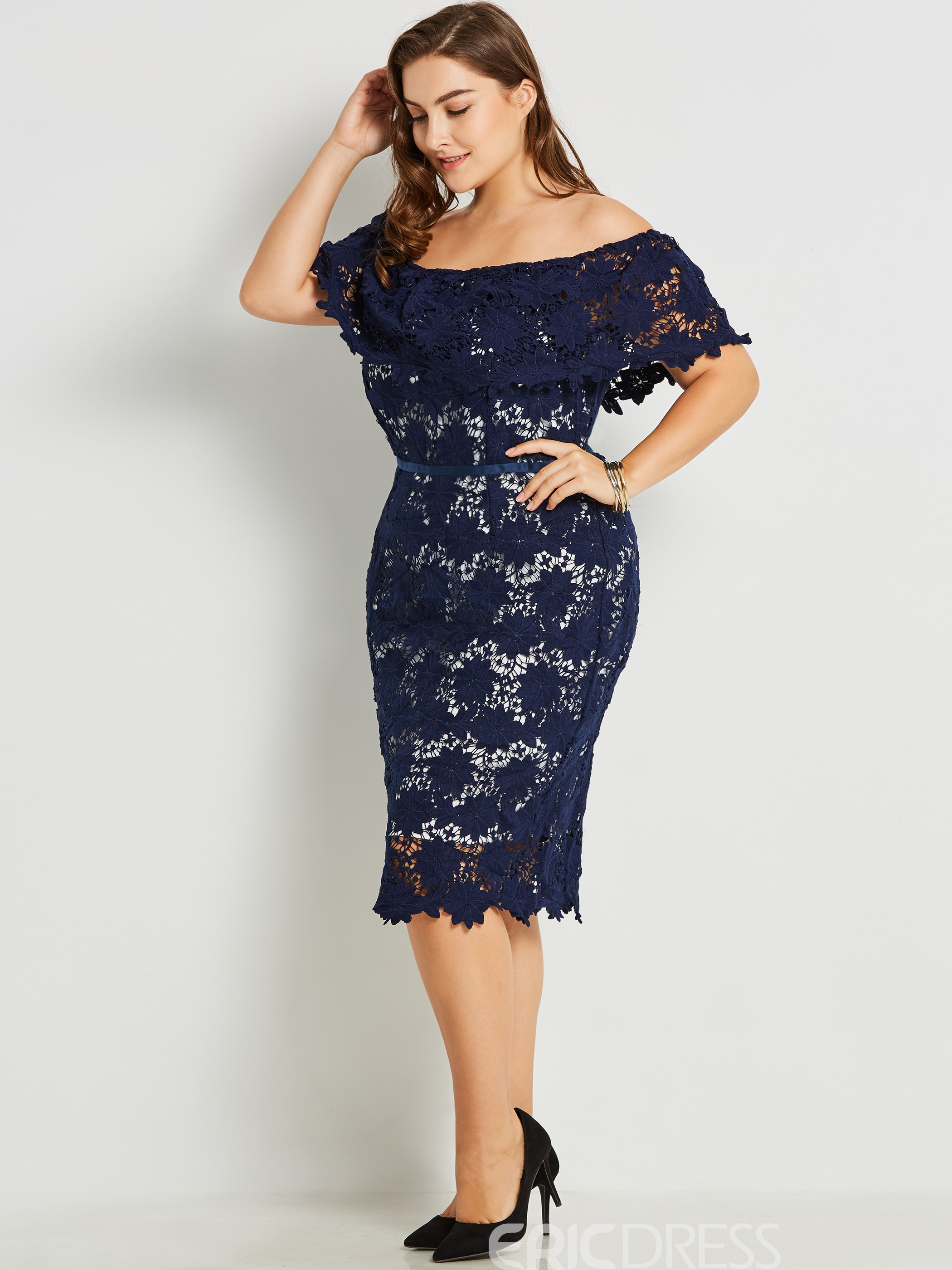 Ericdress Slash Neck Hollow Lace Bodycon Dress