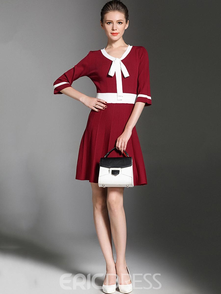 Ericdress Pleated Color Block Above Knee A Line Dress