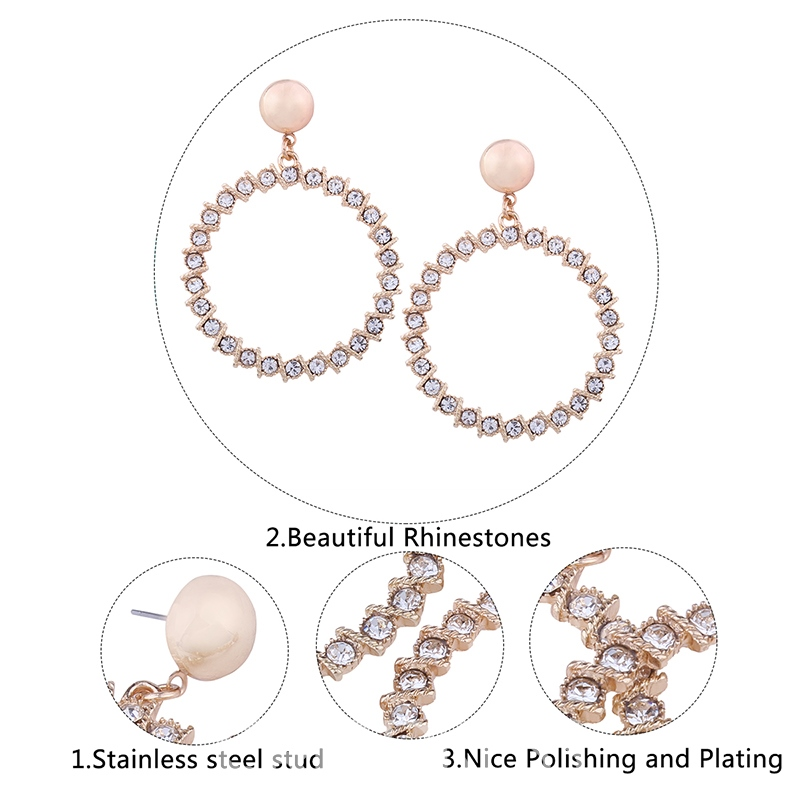 Ericdress Sparkling Diamante Circle Pendant Women's Earring