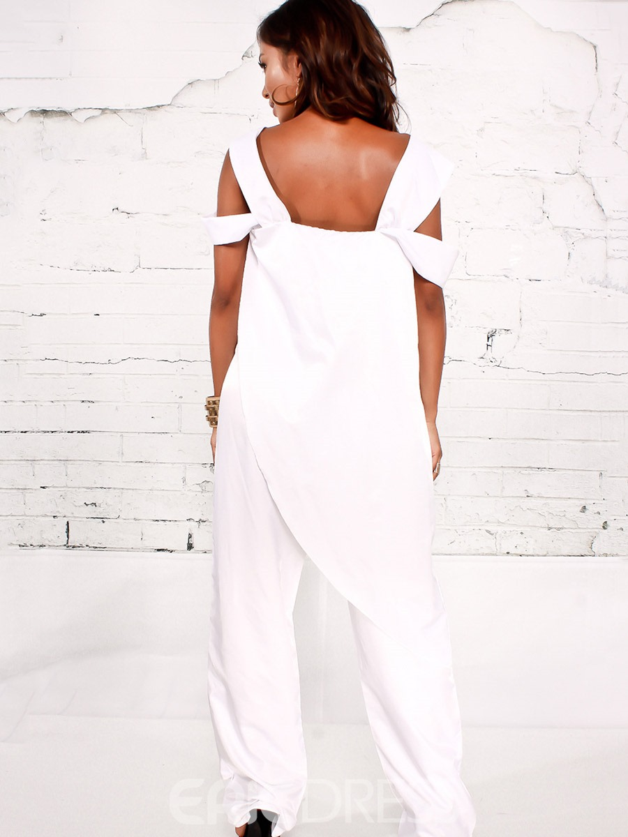 Ericdress Suspenders Asymmetric Plain Jumpsuits Pants