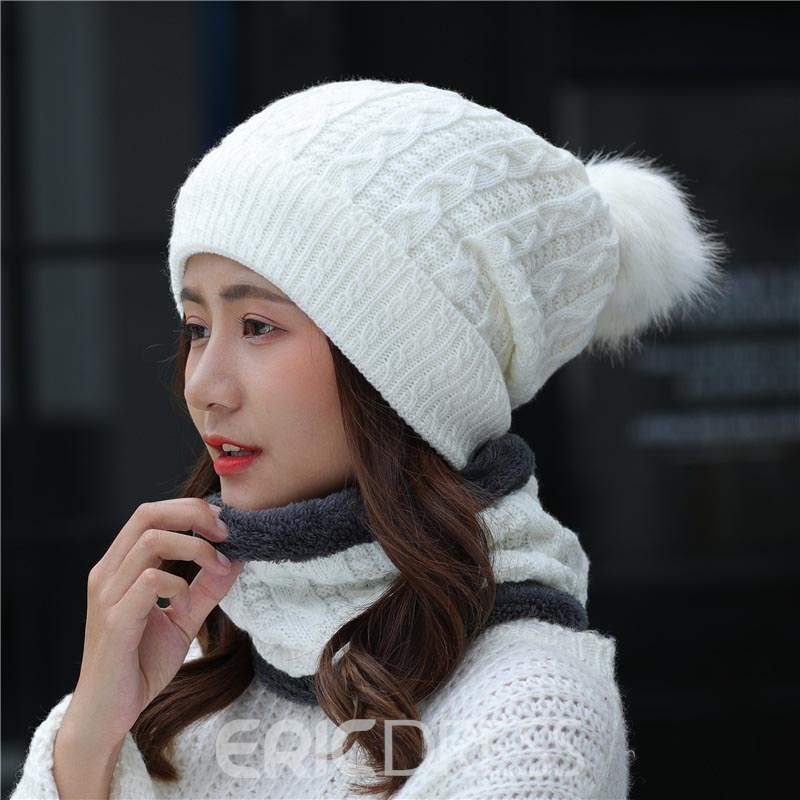 Ericdress Pure Color Fuzzy Ball Brushed Hat for Women