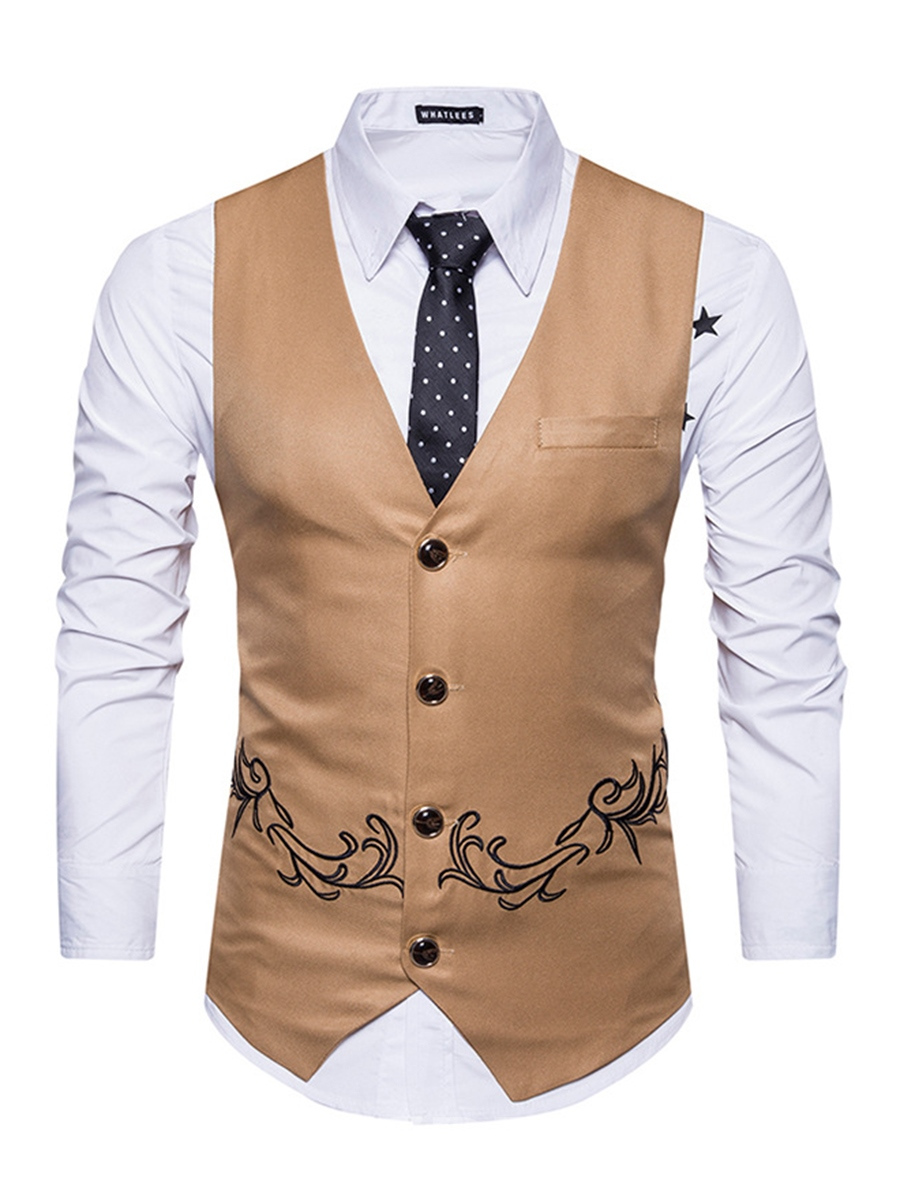 Ericdress Vogue Plain Embroidery Cotton V-Neck Slim Men's Vest