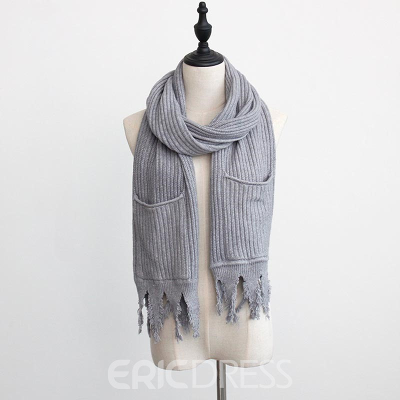 Ericdress Thicken Knitting Wool Pocket Warm Women's Scarf