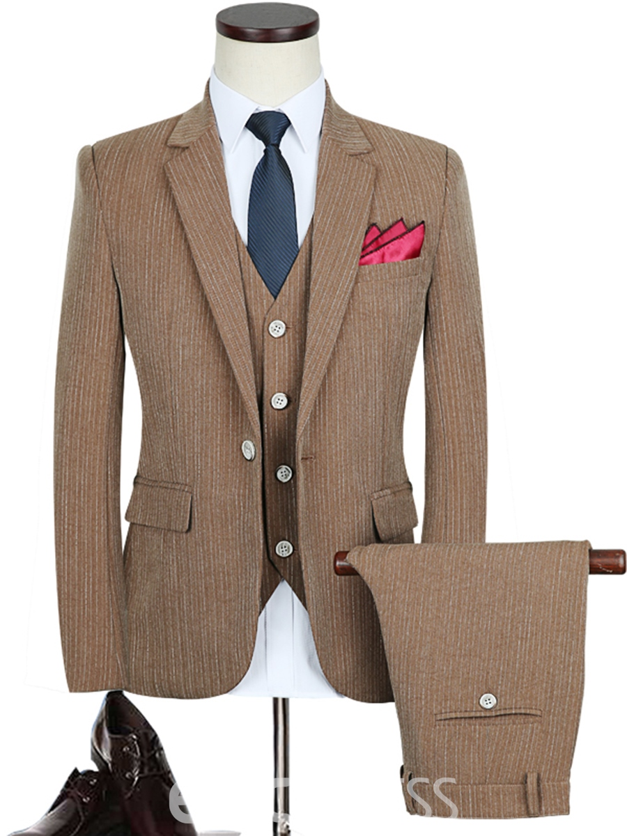 Ericdress Plain Stripe Slim Fit Notched Lapel Three-Piece Vogue Men's Suit