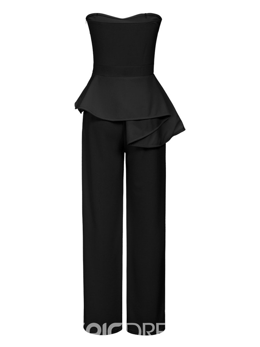 Ericdress Strapless Asymmetric Wide Legs Jumpsuits Pants