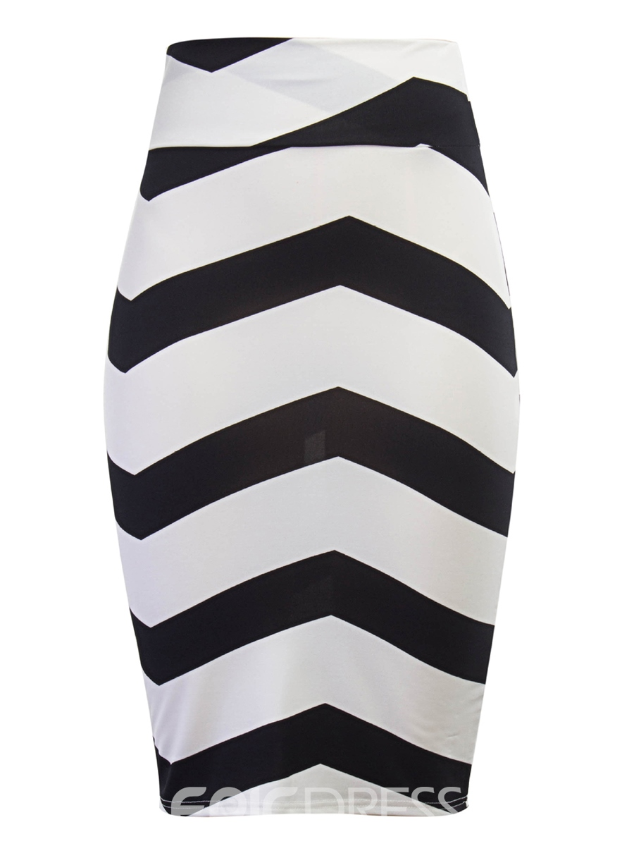 Ericdress Knee-Length High-Waist Stripe Women's Skirt