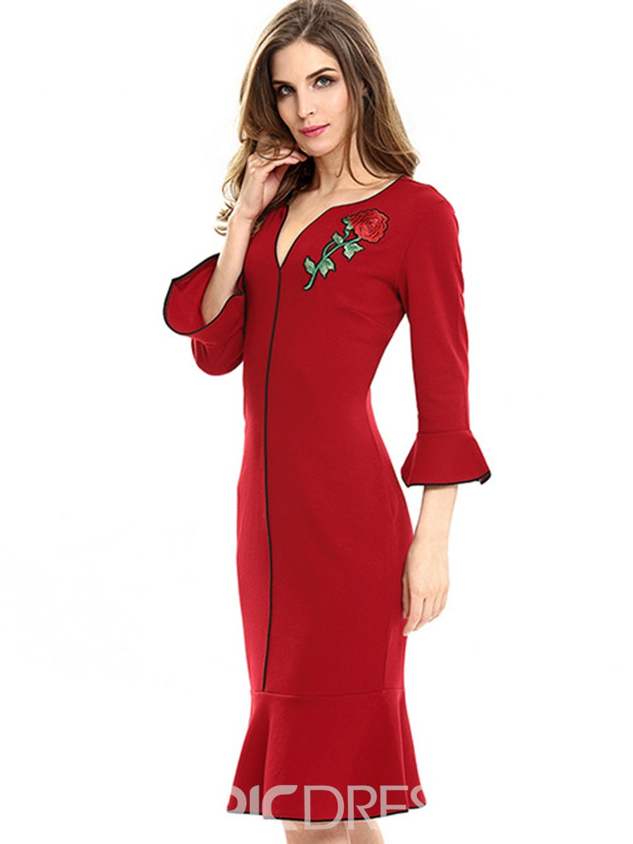 Ericdress Mermaid Flare Sleeve Embroidery Bodycon Dress