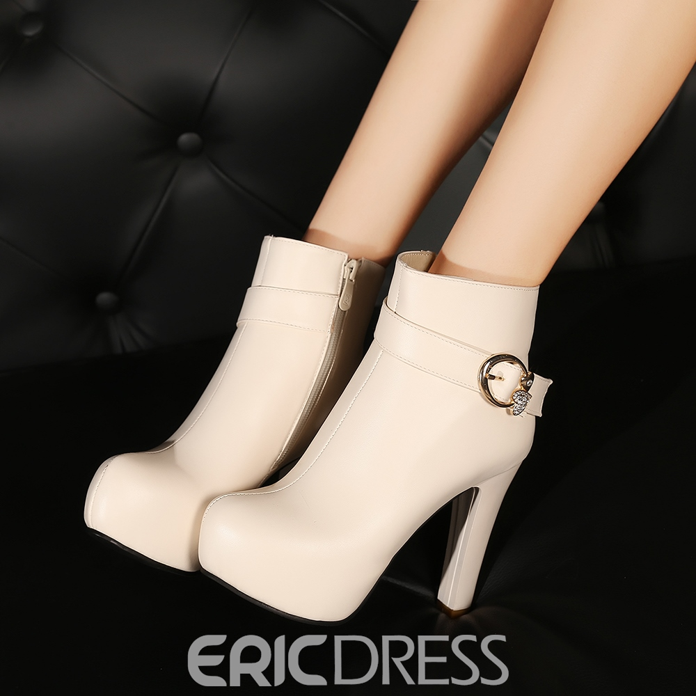 Ericdress Rhinestone Platform Plain High Heel Boots with Buckle