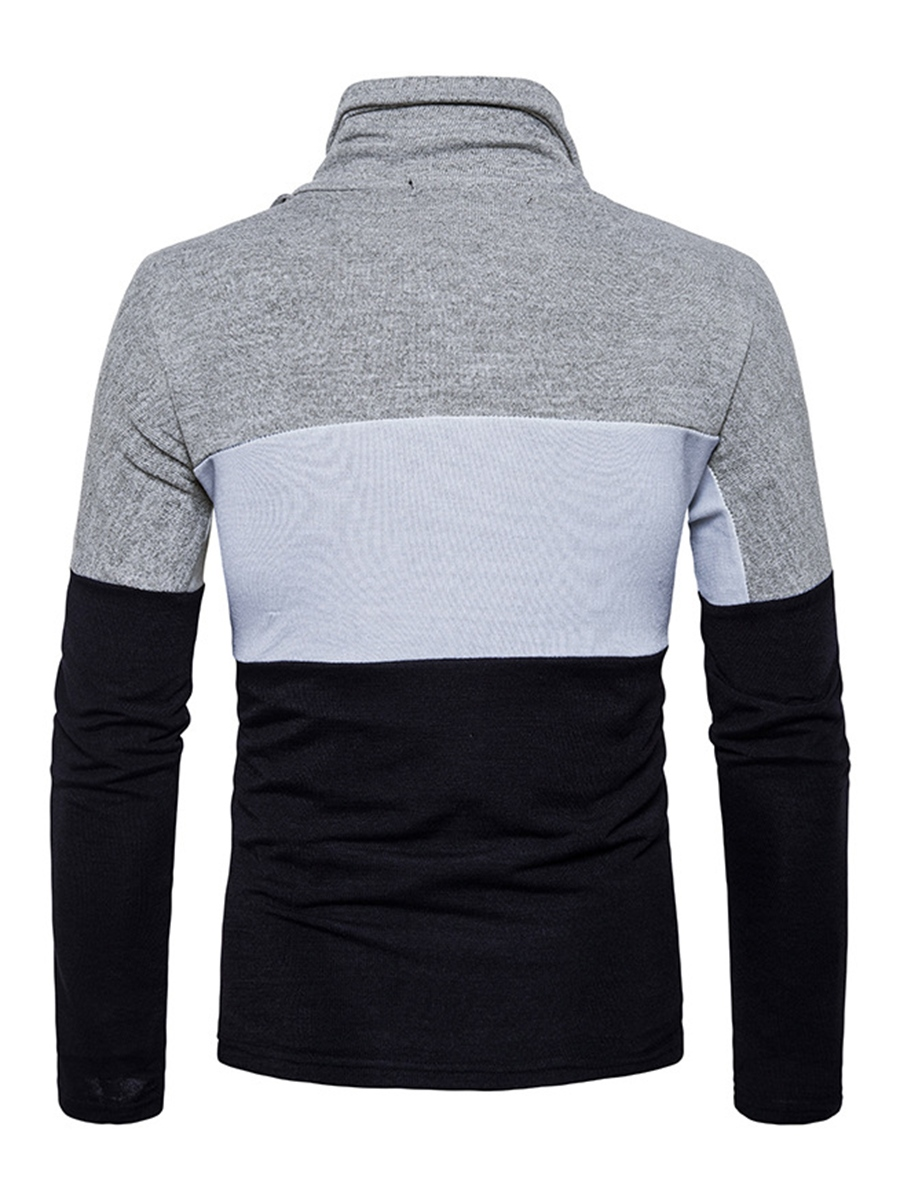 Ericdress Patchwork Cotton Heap Collar Long Sleeve Casual Men's Pullover Sweater