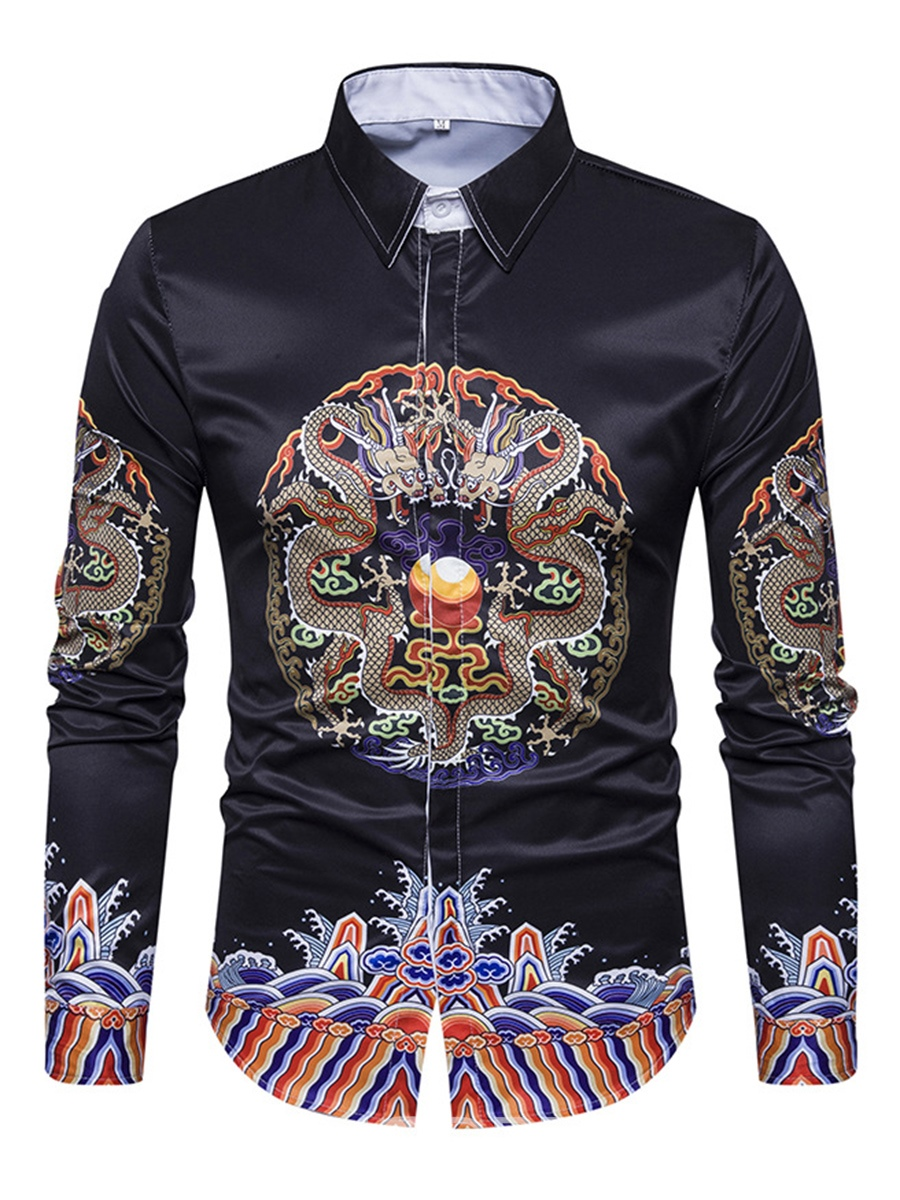 Ericdress Ethnic Style Slim Print Single-Breasted Long Sleeve Men's Shirt