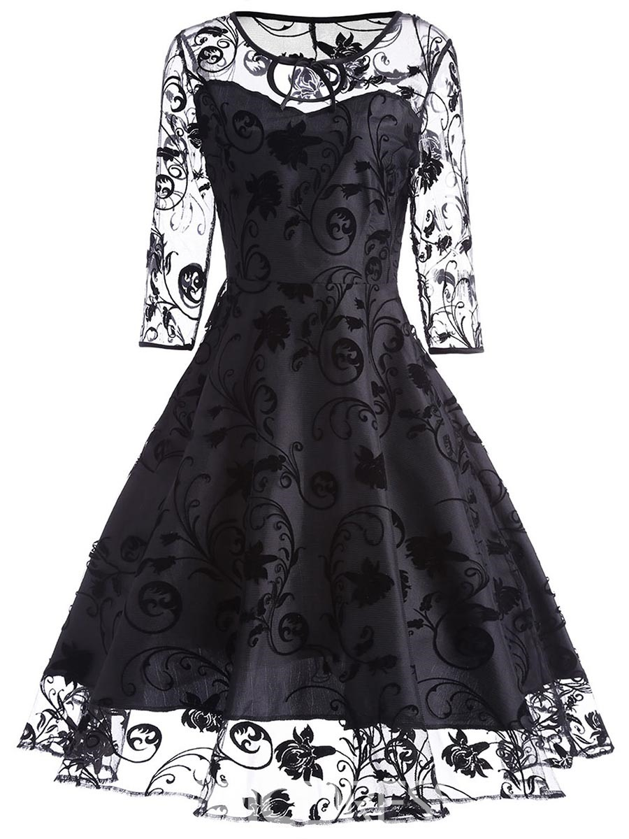 Ericdress Floral See-Through Double-Layer A-Line Dress