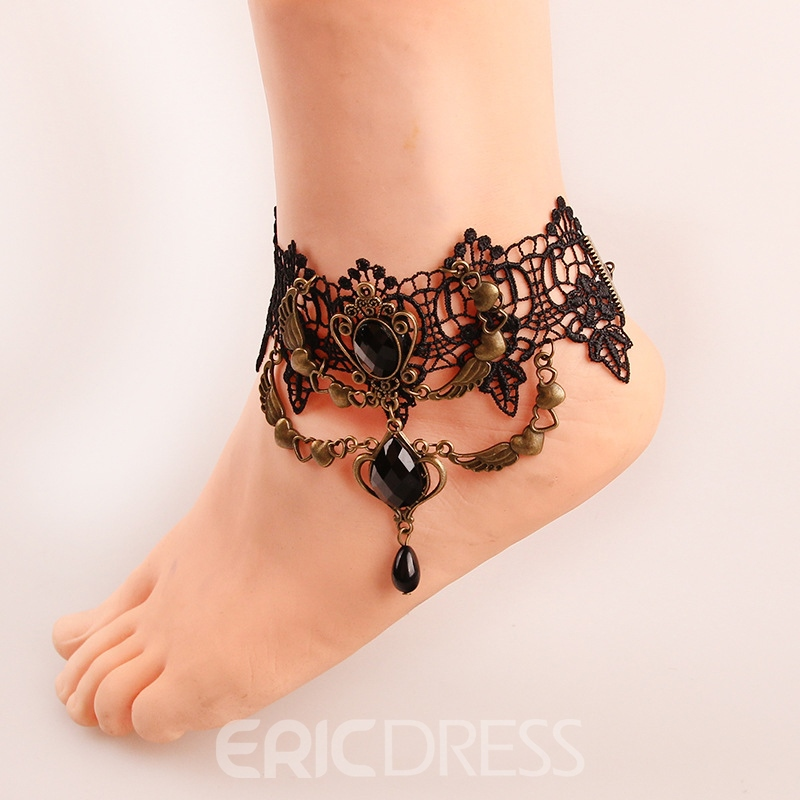 Ericdress Hot Retro Black Lace Hollow Out Women's Anklet