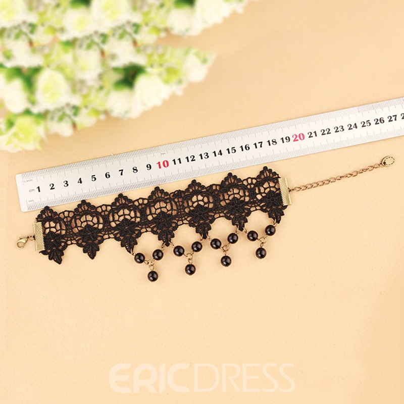 Ericdress Charming Imitation Pearl Black Lace Tassel Women's Anklet