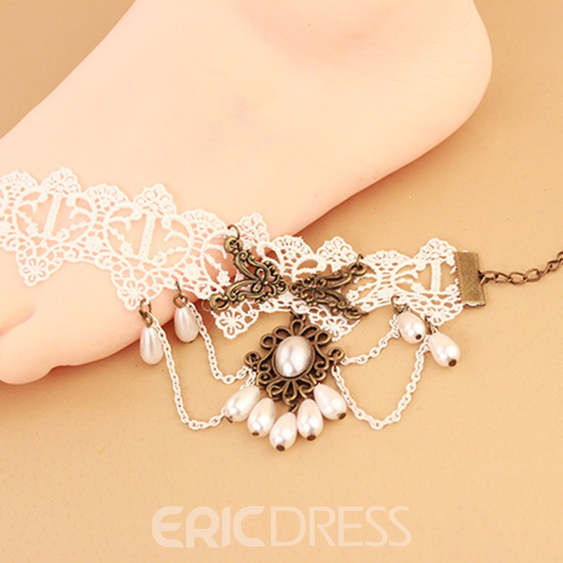 Ericdress Lolita Style Sweet White Lace Women's Anklet