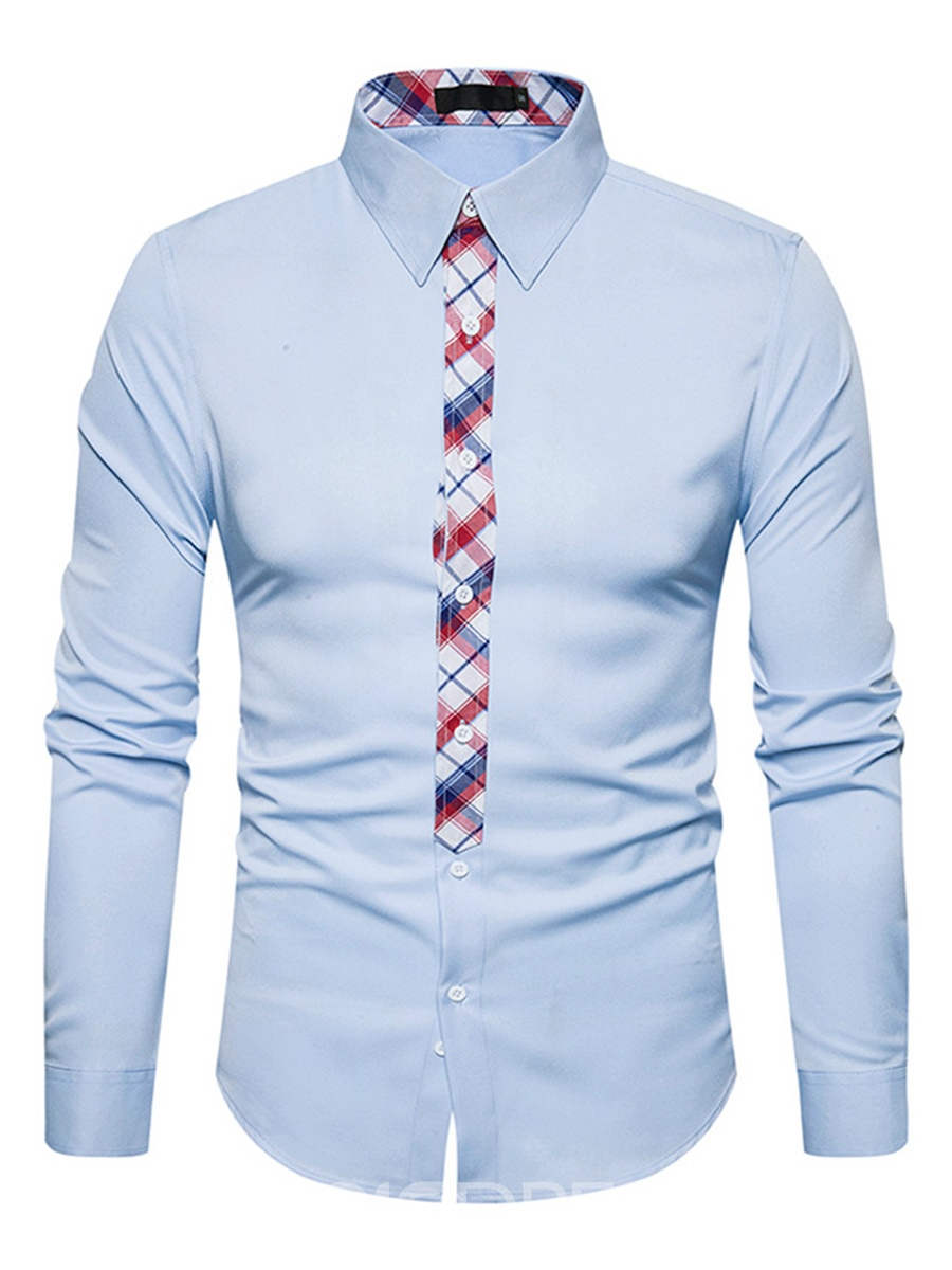 Ericdress Plain Lapel Patchwork Single-Breasted Casual Slim Men's Shirt