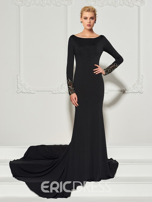 Ericdress Long Sleeve Backless Mermaid Evening Dress With Train