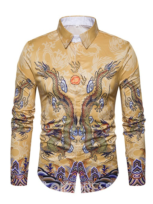 Ericdress Ethnic Style Cotton Print Single-Breasted Unique Men's Shirt