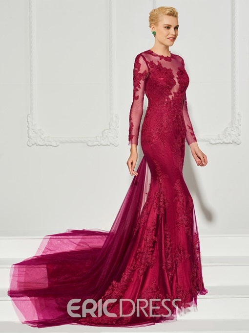 Ericdress Long Sleeve Applique Mermaid Evening Dress With Court Train