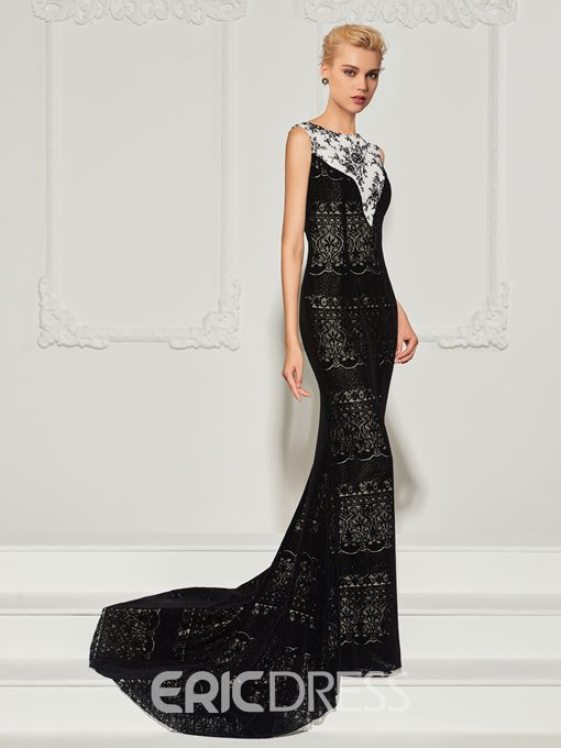 Ericdress Bateau Neck Lace Mermaid Evening Dress With Sweep Train