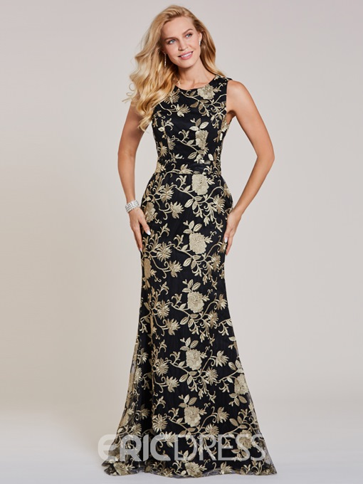 Ericdress Scoop Neck Appliques Lace Mermaid Evening Dress