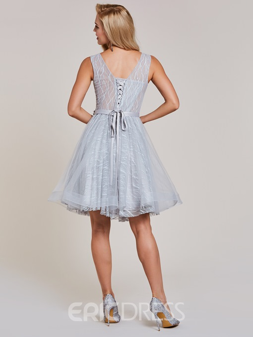 Ericdress Lace-Up Appliques A Line Homecoming Dress