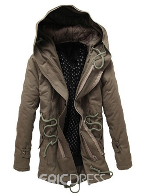 Ericdress Hooded Windproof Thicken Warm Men's Winter Coat