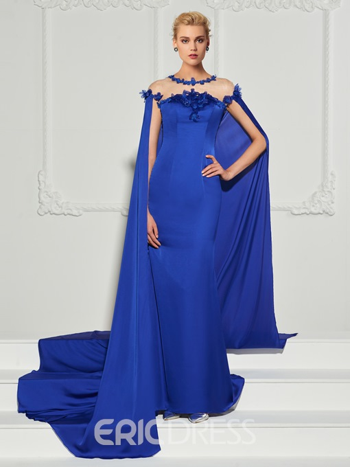Ericdress Scoop Neck Sequin Applique Mermaid Evening Dress With Cape Train
