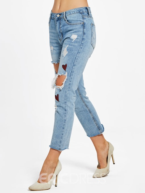 Ericdress Slim Hole Ankle Length Women's Jeans