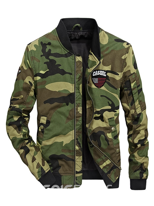 Ericdress Camouflage Cotton Zipper Stand Collar Casual Slim Men's Jacket