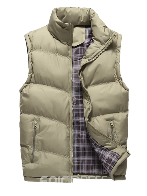Ericdress Stand Collar Polyester Thick Zipper Men's Vest