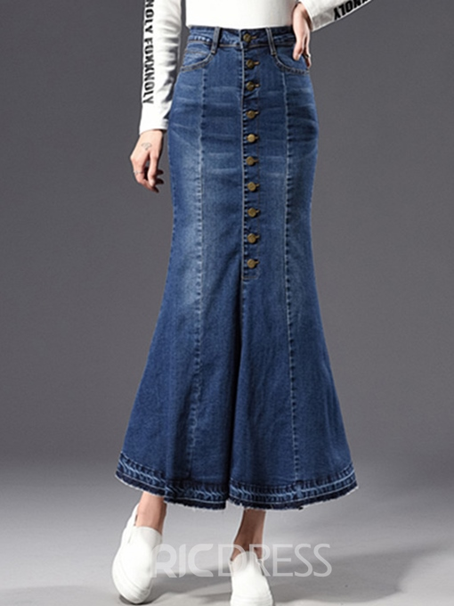 Ericdress High-Waist Ankle-Length Mermaid Button Denim Women's Skirt