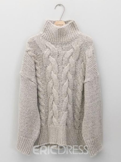 Ericdress Turtleneck Coarse Wool Mid-Length Cable Sweater