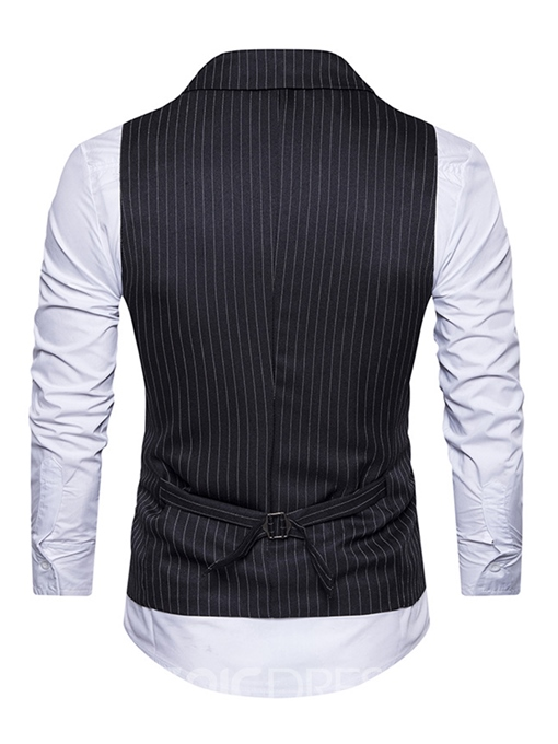 Ericdress Vogue Lapel Stripe Double-Breasted Slim Men's Vest