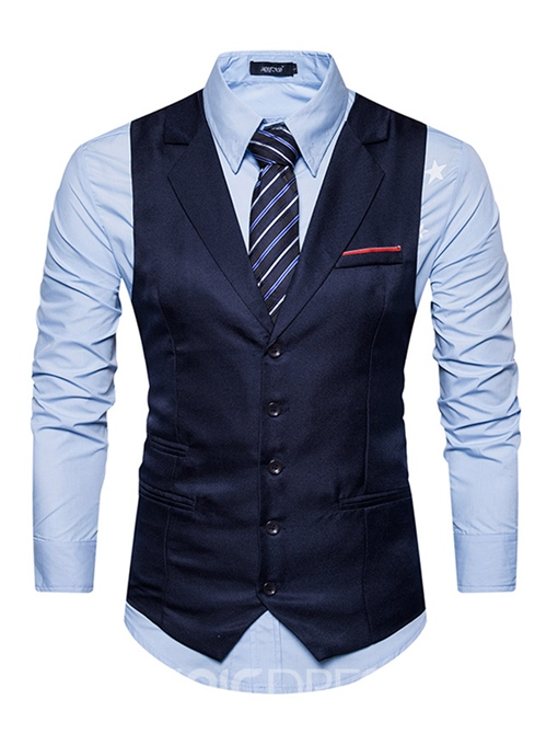 Ericdress Vogue Plain Single-Breasted Lapel Slim Men's Vest