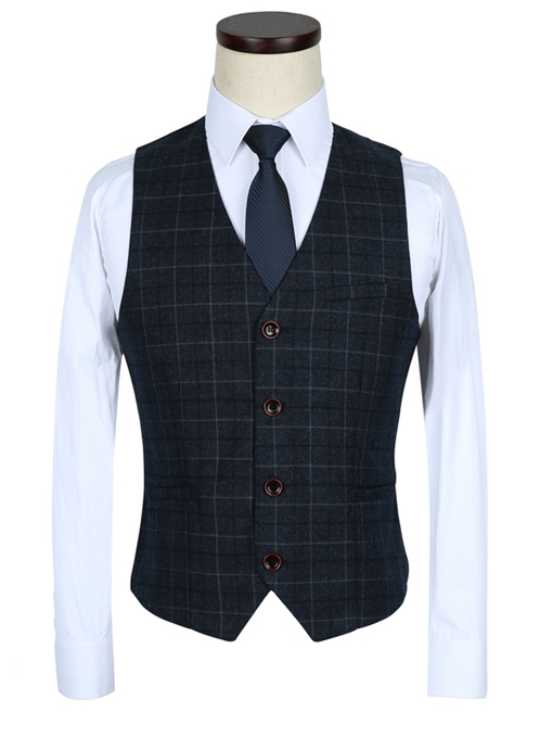 Ericdress Plaid Single-Breasted Notched Lapel Three-Piece Slim Fit Men's Suit