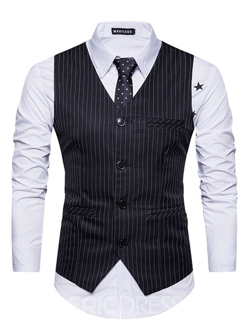Ericdress Vogue Single-Breasted V-Neck Stripe Slim Men's Vest