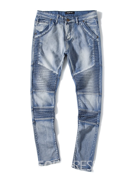 Ericdress Plain Stripe Denim Holes Casual Slim Men's Pants