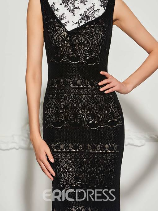 Ericdress Bateau Neck Lace Sweep Train Mermaid Evening Dress