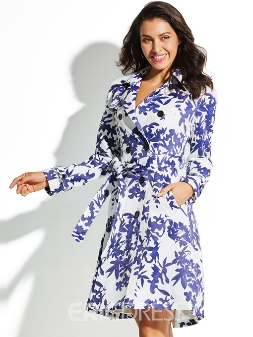 Ercdress Moroccan Tiles Floral Trench Coat