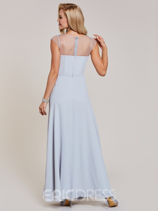 Ericdress Scoop Neck Cap Sleeves Appliques A Line Evening Dress